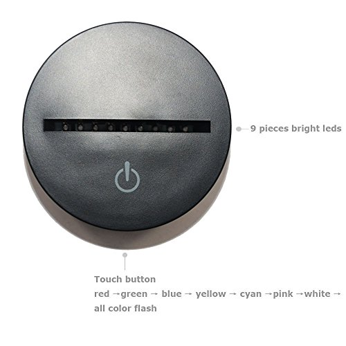 WONFAST® 3D World American Globe Optical Illusion Lighting 7 Colors Change Touch Switch LED Table Lamp Children's Night Light for Home Decoration Household Bedroom by WONFAST (Image #5)'