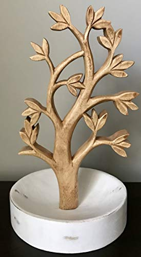Decozen Solid Wood Jewelry Hanging Tree Stand - Multi-Functional Necklace Holder Display Organizer Rack with a Ring Dish Tray - Great for Organization - Can Be Used As Decor, Dining Room Centerpiece