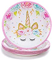 Plastic Table Cloth Birthday Decorations Bunting Head band Disposable Paper Plates Serves 16 Rovercci Napkins Straws Unicorn Party Supplies Set /& Tableware Kit /& BONUS Balloons Bracelet Cups