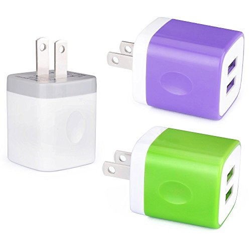 Apple Base (iPhone Charger Block, FiveBox 3 PACK 2.1A Dual Port USB Wall Charger Brick Plug Charger Box Case Charging Base Cube For Apple iPhone X/8/7/6/6 Plus, iPad, Samsung Galaxy S8 S7 S6, Android, HTC, Google)