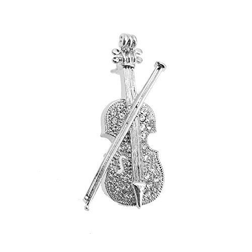 chelseachicNYC Tiny Jewel Crystal Violin and Bow Brooch Pin Silver