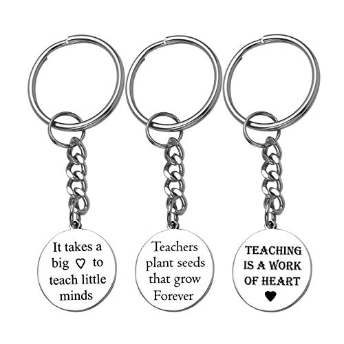 ed Engraving Name Stainless Steel Round Dog Tag ID Tag Thank You Pendant Dangle Key Chain Key Ring Jewelry for Womens Mens Teacher's Day Gift ()