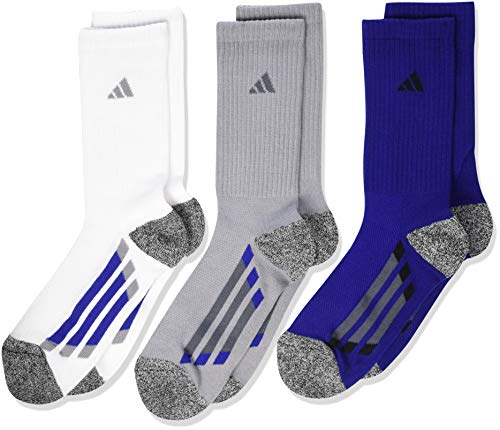 (adidas Kids' - Boys/Girls Cushioned Crew Socks (6-Pair), Light Onix/ Black - White Marl/ Onix/ Mystery Ink Blue, L)