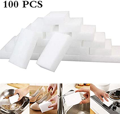 Paquete de 100 Almohadillas de Limpieza White Magic, Borrador de Limpiador de Esponja Suave y útil, Bueno para Fregadero Limpio, baño, refrigerador, Campana extractora, etc.: Amazon.es: Hogar