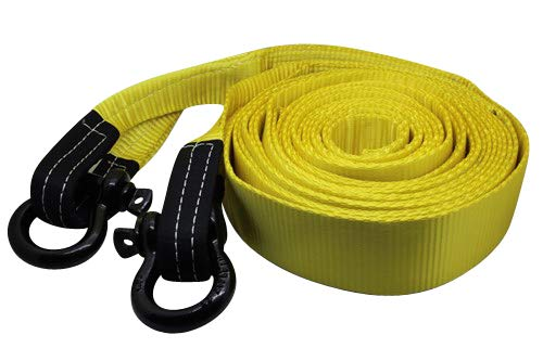 12m DiversityWrap 13.5T Tow Strap Heavy Duty Tow Rope Towing Pull Strap Recovery Winch 4x4 Offroad With 2x Shackles Yellow 39.37ft