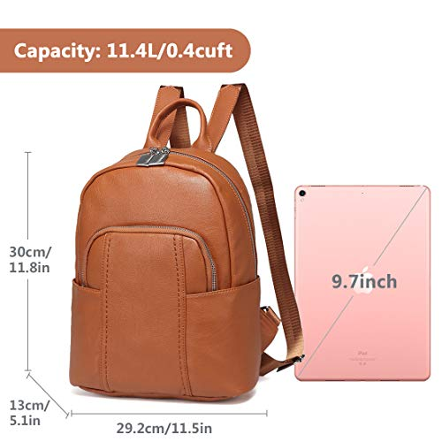 Around Teen Back Fashion Backpack Women Faux Leather for with for Backpack Anti Girls Purse Brown Pocket Zip ChaseChic theft nxAqw8CBPa