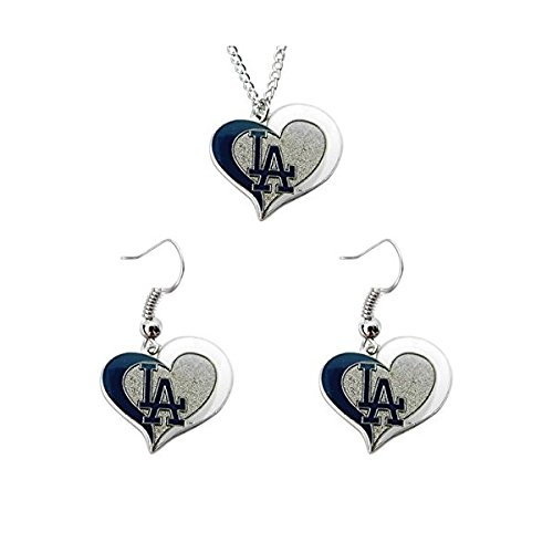 MLB LA Los Angeles Dodgers Swirl Heart Necklace and Dangle Earring Set Charm Gift