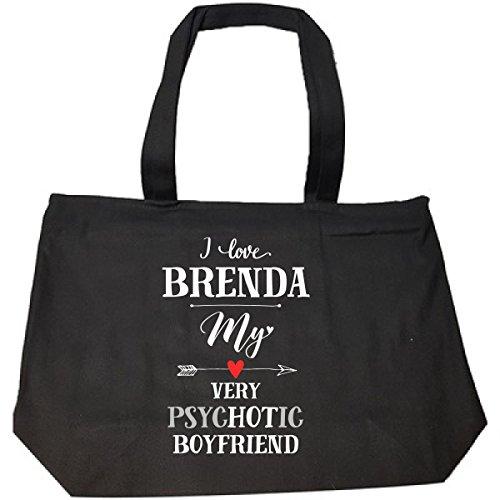 I Love Brenda My Very Psychotic Boyfriend Gift For Her - Tote Bag With (Brenda Zip Bag)
