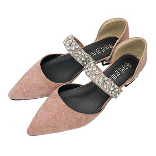 Mujeres Sandalias Huecas Bombas Rhinestones de Único bajo Acentuados Primavera tacón Rosado Planos Suede GAOLIXIA Zapatos Sweet ocasionales Zapatos Verano Zapatos BqvdB
