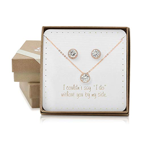 BRIDE DAZZLE Bridesmaid Gifts - Pretty Halo Cubic-Zirconia Necklace & Earrings Set (18