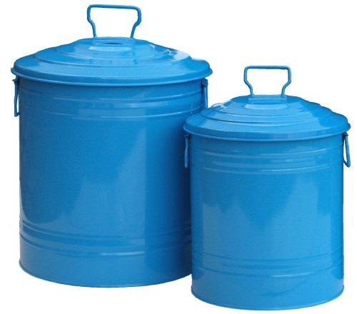 HIT-6515E-B-Galvanized-Heavy-Gauge-Steel-Compost-Storage-Container-Blue-Set-of-2