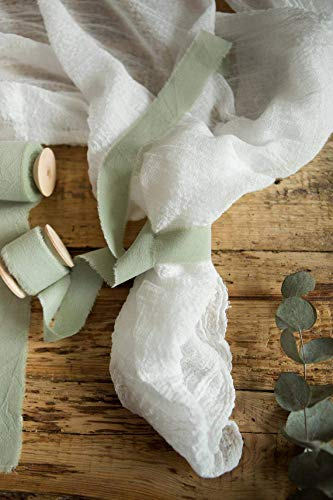Favors Handmade Wedding - Greenery muslin cotton frayed edges hand dyed ribbon 1'' х 5 yards in roll Taupe Rustic wedding invitation ribbon, favors wrap and bouquet supplies