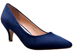 Greatonu Womens Blue Navy Suede Almond Toe Slip-on Kitten Pump Shoes Size 9