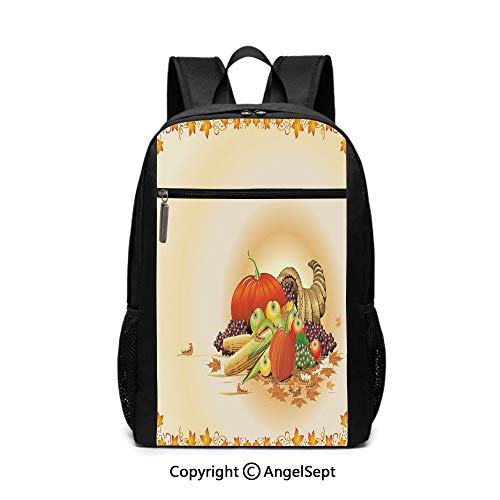 Middle School Backpack,Maple Tree Frame with Rustic Composition for Thanksgiving Halloween Dinner Food,Multicolor,6.5