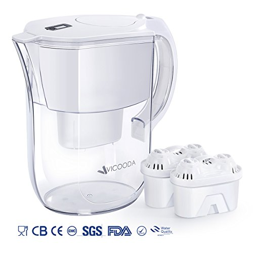 VICOODA Water Filter Pitcher, Water Pitcher Comfortable Grip Handle Fast Filtering Outlet, Ultra Adsorptive Material, BPA Free, 40Gallons, White -