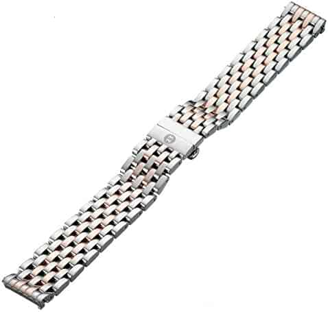 MICHELE MS18AU315750 18mm Deco Stainless Steel Two-Tone Watch Bracelet