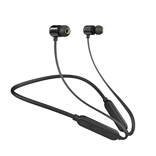 ONETKM Bluetooth Headphones, Wireless 4.2Sport Neckband Magnetic Earbuds, Upgraded Version Sweatproof Sports in-Ear Earpieces with Microphone-Black