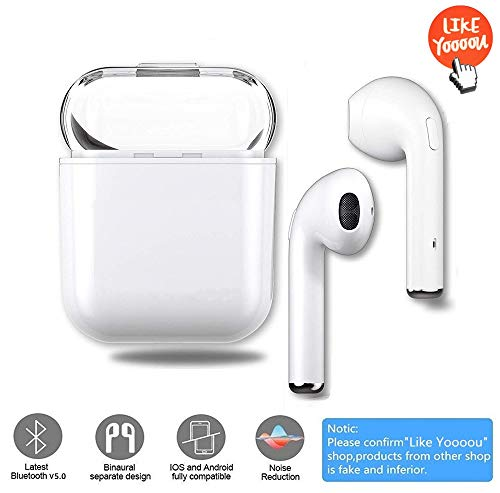 Upgraded Version of I8X-TWS Fans HiFi in-Ear Headphones Bluetooth Hands-Free 5.0 Sports Sweat-Proof Noise Reduction 3D Surround Sound for Apple Airpods iOS Android Mac PC Tablet