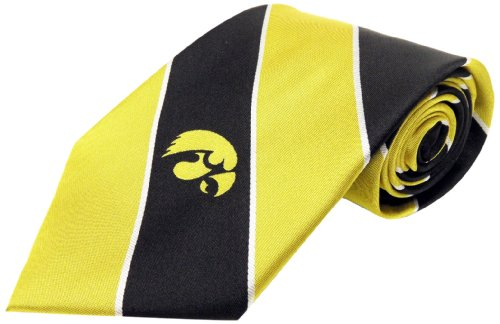 (NCAA Boy's Iowa Hawkeyes Striped Necktie, Black/Yellow )