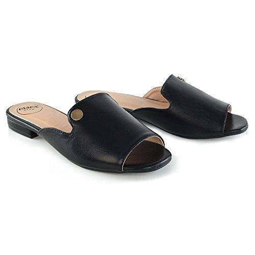 Mule Schwarz Slider Toe Schuhe Ferien Flache Peep GLAM Sommer Größe ESSEX Strand Damen Sandalen Kunstleder Womens Pwq4EFg6