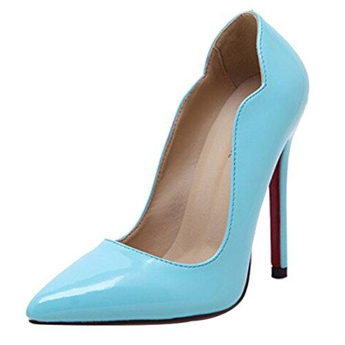Azbro Mujer Zapato con Puntera Punta de Tacón Alto Alto Bajo Rojo