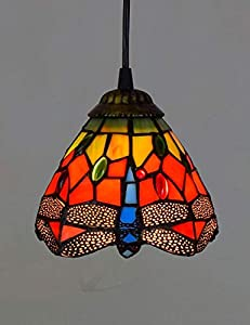 """ZYear Mini Retro Chandelier, 6"""" Hanging Lamp, With Stained Glass Shade, Hotel Club Living Room Sofa Corner Decoration Lamp"""