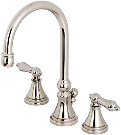 Kingston Brass KS2986AL Governor 8-Inch Widespread Lavatory Faucet, 6-1 2 Inch in Spout Reach, Polished Nickel