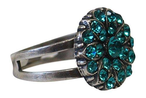 Mariana Teal Floral Swarovski Crystal Adjustable Ring 7217 229229