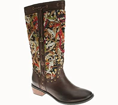Spring Step Tapestry Women's Brown Leather Boot 35 ...