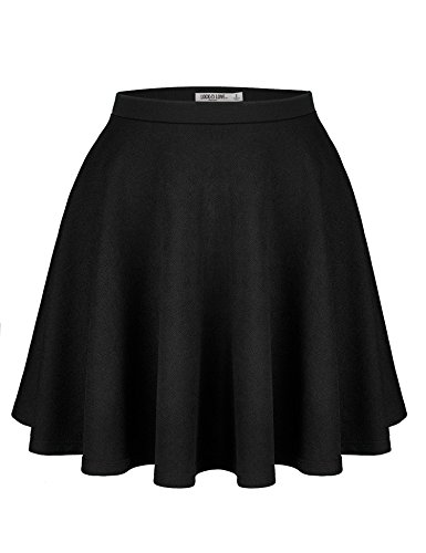Lock and Love WB1580 Womens Verstaile Stretchy Flared Casual Skater Skirt - Made in USA L Black by Lock and Love (Image #5)