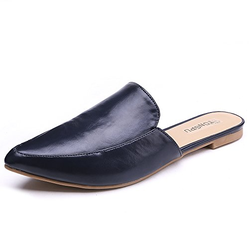 Pointed Ladies Chic TONGPU UK3 with 7 Comfy On Loafer Shoes Slip Toe Slippers Women Navy Shoes Size Flat Summer Mules wIIxqBgv7