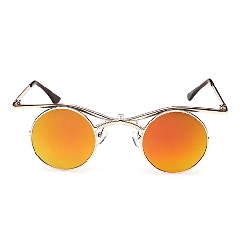 LOMOL Retro Trendy Steampunk Flip Lens UV Protection Personality Round - Most Sunglasses Are Popular The What