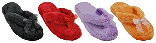 Beaute Fashion Spa Slippers Thong Flip Flop Slipper Fluff Ultra-Soft Womens Plush Cozy Non-Skid Slippers - Great For Gifts Red gMZEiVM