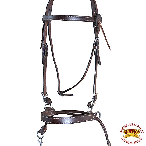 HILASON WESTERN AMERICAN LEATHER HORSE SIDE PULL BITLESS REINS DARK - Side Pull