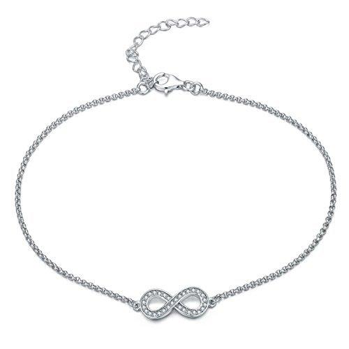 UK Sreema Gorgeous Elegant Infinity / Bow Anklet With Diamantes, Sterling Silver Ankle Bracelet