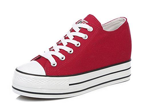 Aisun Womens Aumento Di Altezza Ascensore Scarpe Sneakers Rosso