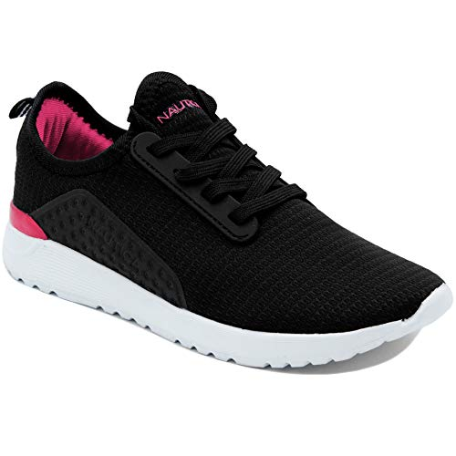 Nautica Missy Youth Girls Athletic Fashion Cross Trainer Lace Up Running Sneakers -Kaiden Girls-Black/Pink-13