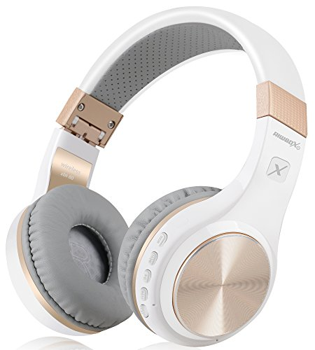 Riwbox Bluetooth Headphones, XBT-80 Folding Stereo Wireless Bluetooth Headphones Over Ear with Microphone and Volume Control, Wireless and Wired Headset for PC/Cell Phones/TV/Ipad (White Gold)