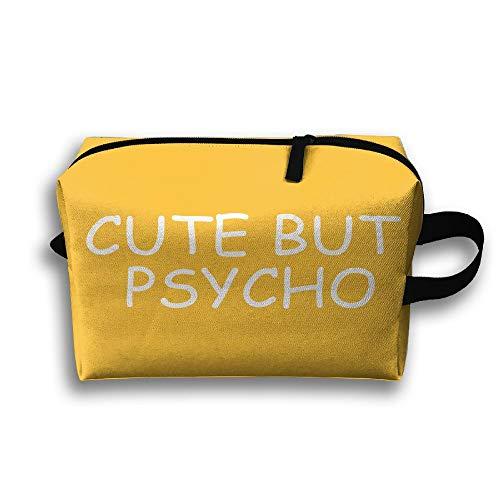 Cute But Psycho Cosmetic Bags Makeup Organizer Bag Pouch Zipper Purse Handbag Clutch Bag ()