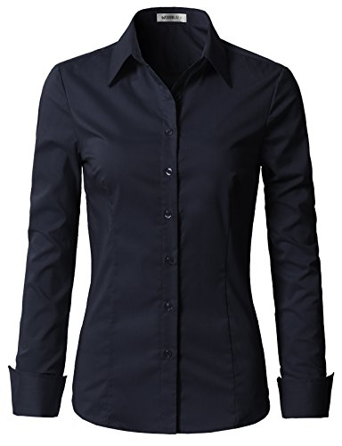 - Doublju Womens Slim Fit Plus Size Classic Solid Long Sleeve Button Down Blouse Dress Shirt Navy X-Large