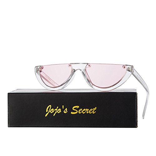 JOJO'S SECRET Half Frame Women Cat Eye Sunglasses Brand Designer Fashion Eyewear JS037 (Transparent White/Pink, 2.6) Designer Fashion Eyewear