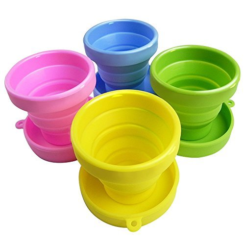 Travel Collapsible Cup | Cute Folding Colorful High Quality Silicone Stain Proof 5.7Oz Tumbler | Perfect for Camping Outdoor Drinking Mug | Set of 4 Pcs Pink Yellow Blue Green | 785 (New England Hot Dog Pan compare prices)