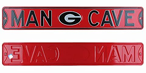 Georgia Bulldogs Man Cave Officially Licensed Authentic Steel 36x6 Red & Black NCAA Street Sign (Man Cave Georgia)
