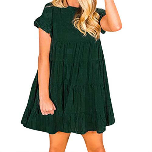Zlolia Women's Solid Color Ruffled Folds Mini Dresses Short-Sleeved Round Neck Dress Summer Fashion Casual Skirt Army ()