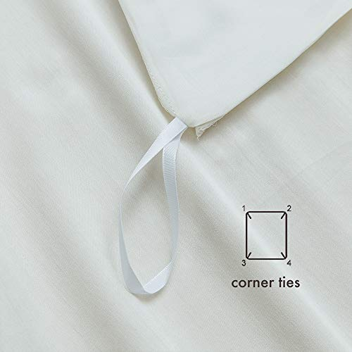 MILDLY Solid Color White Duvet Cover Sets Luxury Queen Comforter Cover with 2 Pillowcases 100% Egyptian Cotton (No Comforter)