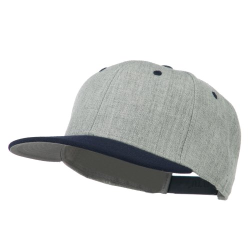 Heather Wool Blend Flat Bill Snapback Two Tone Cap - Navy Grey OSFM (Hat Tone Baseball Two)
