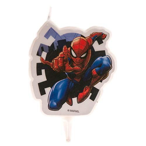 Dekora-346208 Vela de Cumpleaños 2D Spiderman de 7 cm, Color ...