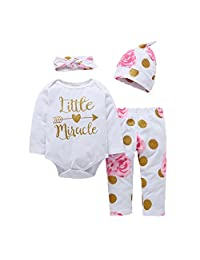 Newborn Baby Girls Little Miracle Bodysuits Floral Leggings Hat 3pcs Outfits