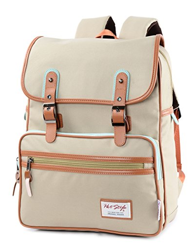 SmileDay Vintage Flap Bookbag College Backpack | Fits 15.4' Laptop | 16.5'x11.8'x7.9' | Khaki