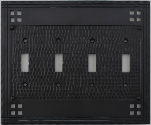 Arts & Crafts Mission Style Oil Rubbed Bronze 4 Gang Switch Plate - 4 Toggle Light Switch Openings